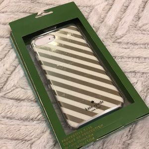 Kate Spade iPhone plus case gold and white